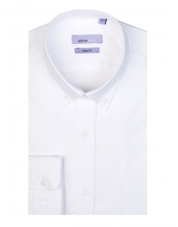 Chemise slim fit oxford BLANC