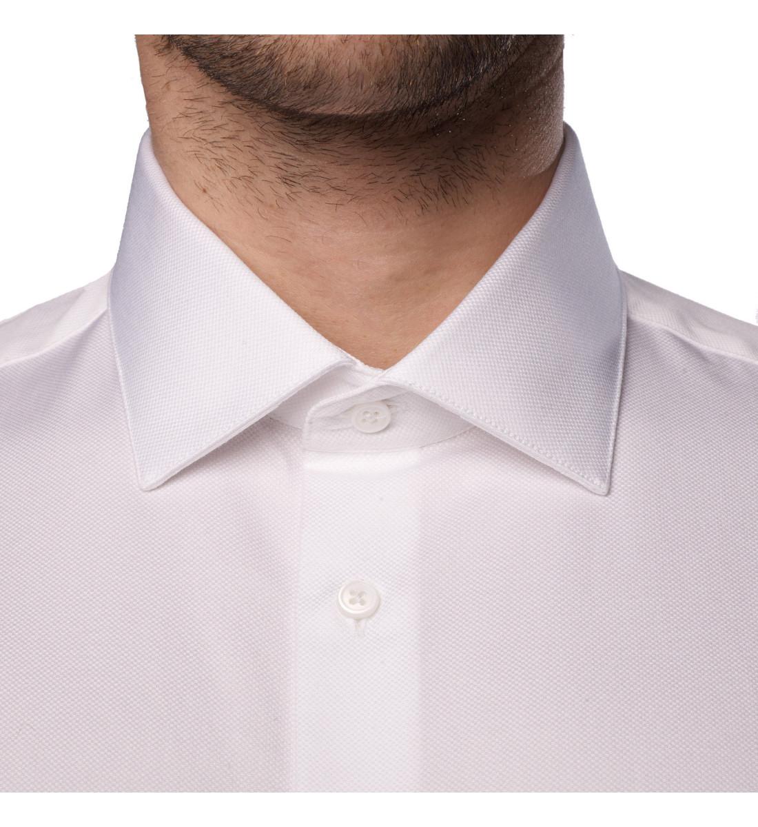 Chemise ajustée blanche petit col italien