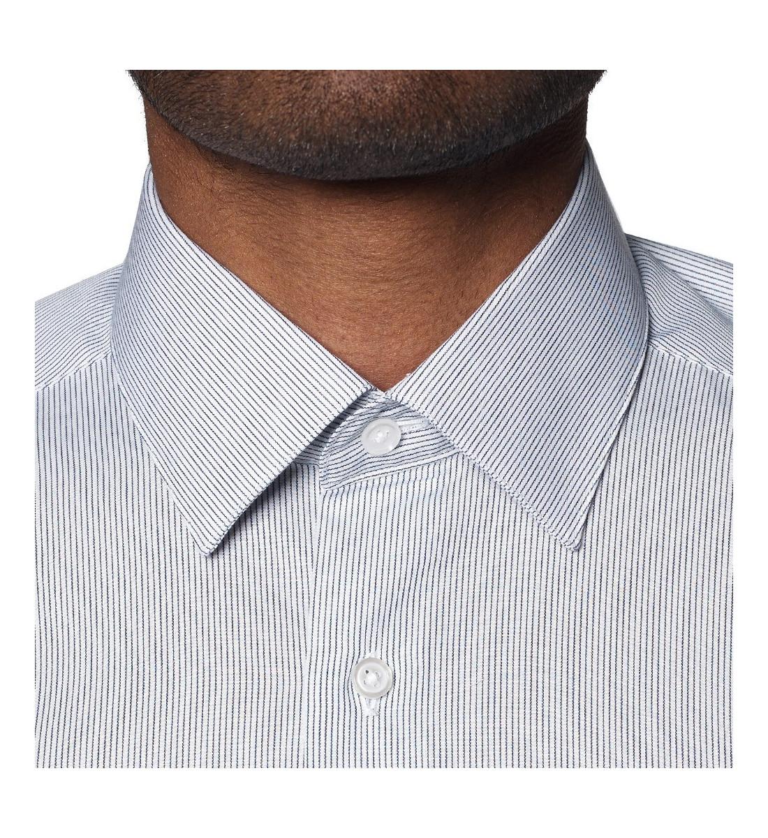 Chemise cintrée à rayures fines BLEU