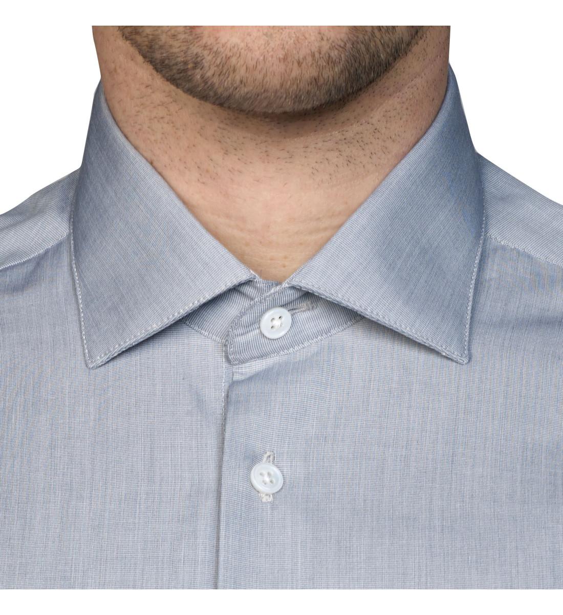 Chemise cintrée petit col italien GRIS effet chiné