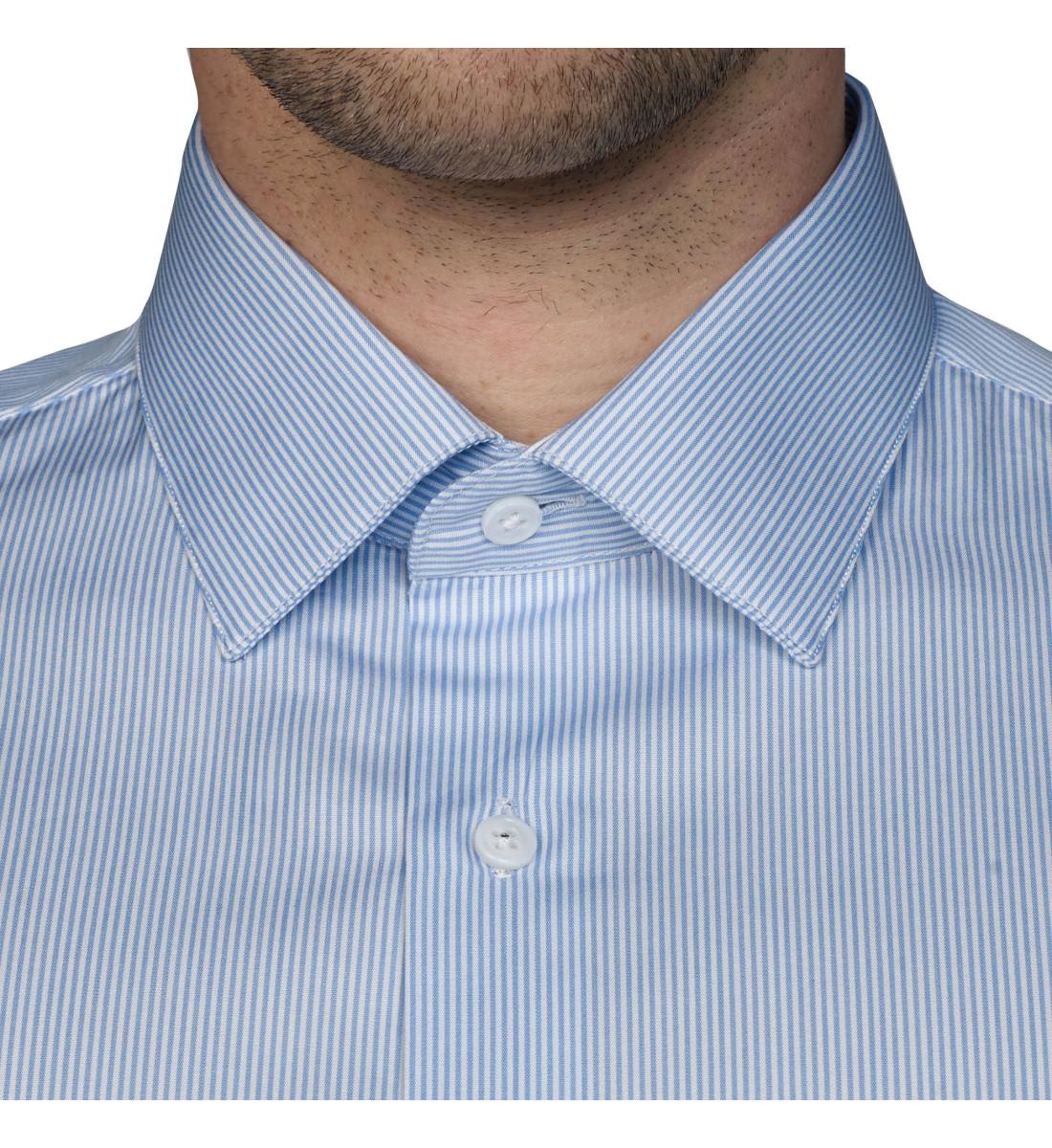 Chemise ajustée rayures col français CIEL