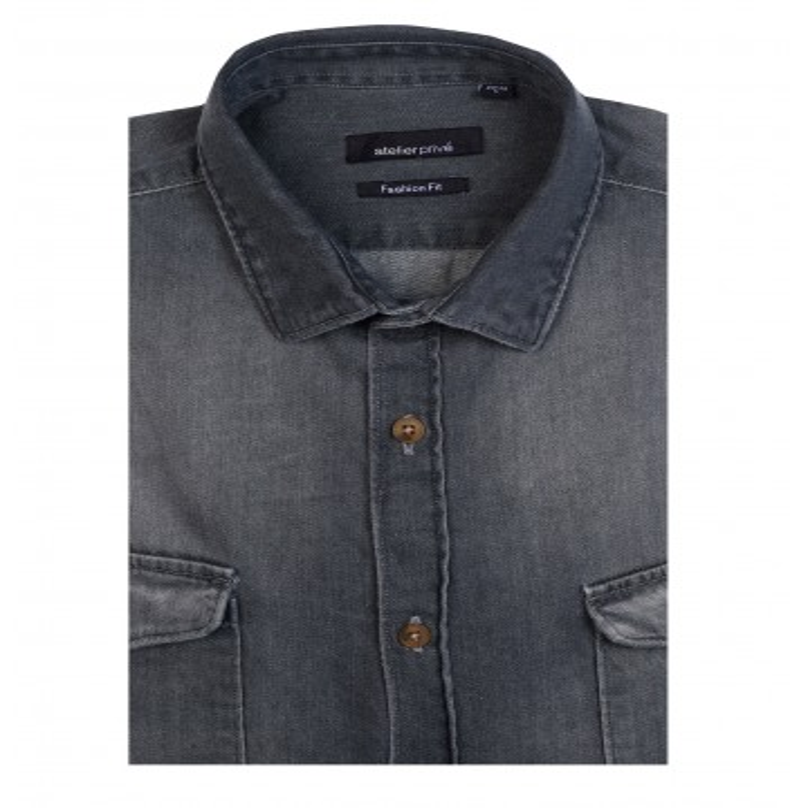 Chemise coupe droite en denim noir