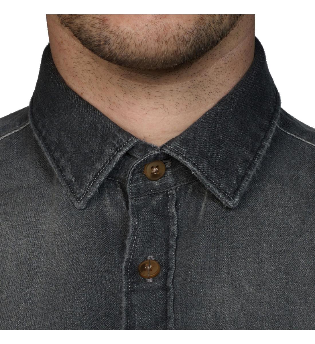 Chemise ajustée en denim noir