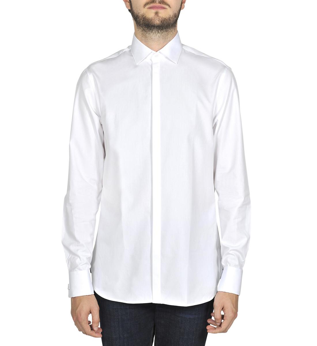 Chemise ajustée cérémonie col italien BLANC