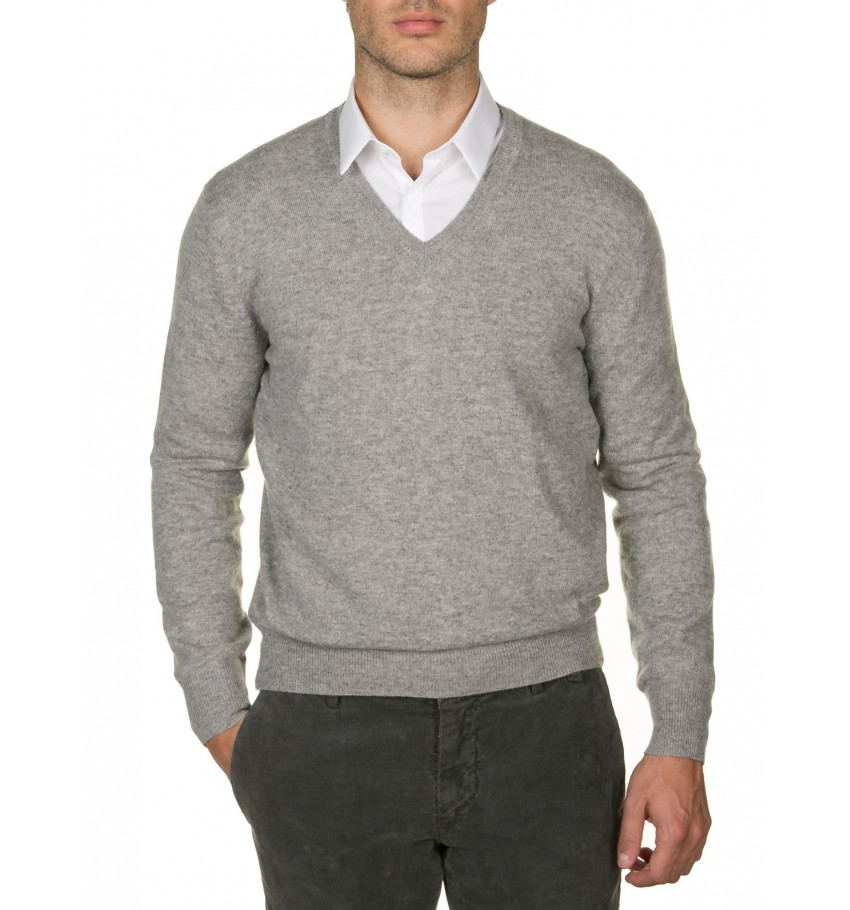 Pull col v 100% cachemire GRIS CLAIR