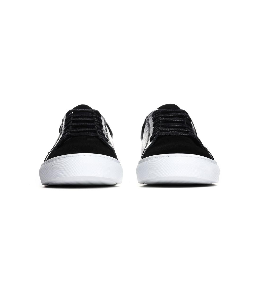 Sneakers basses cuir grainé NOIR