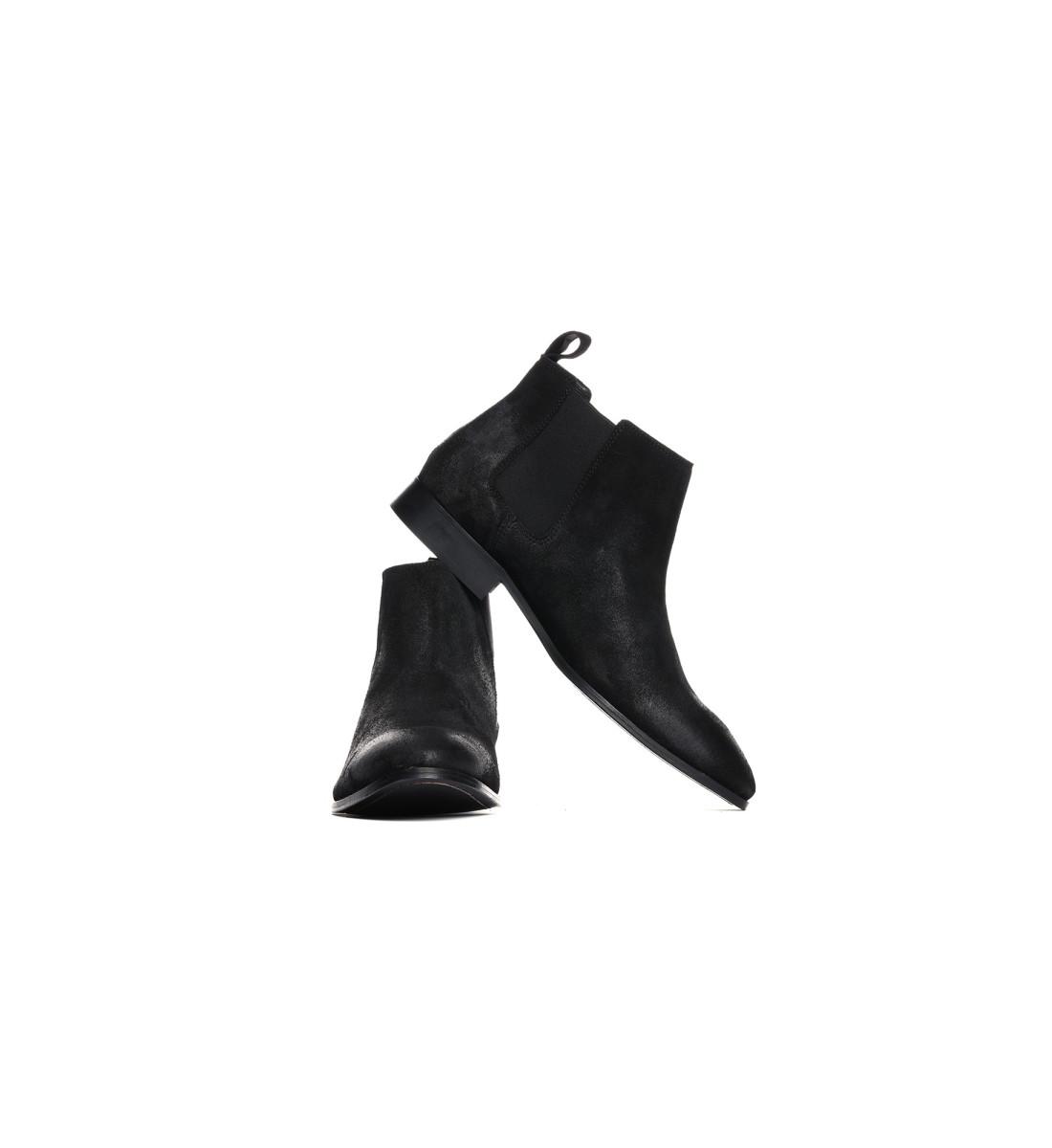 Chelsea Boots mi-haute suede NOIR waxé