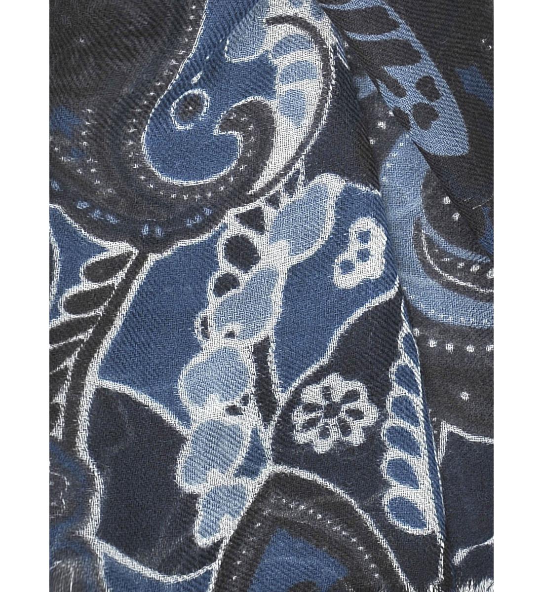 Echarpe fantaisie imprimé floral MARINE/GRIS