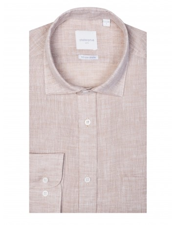 Chemise coupe droite 100% LIN beige