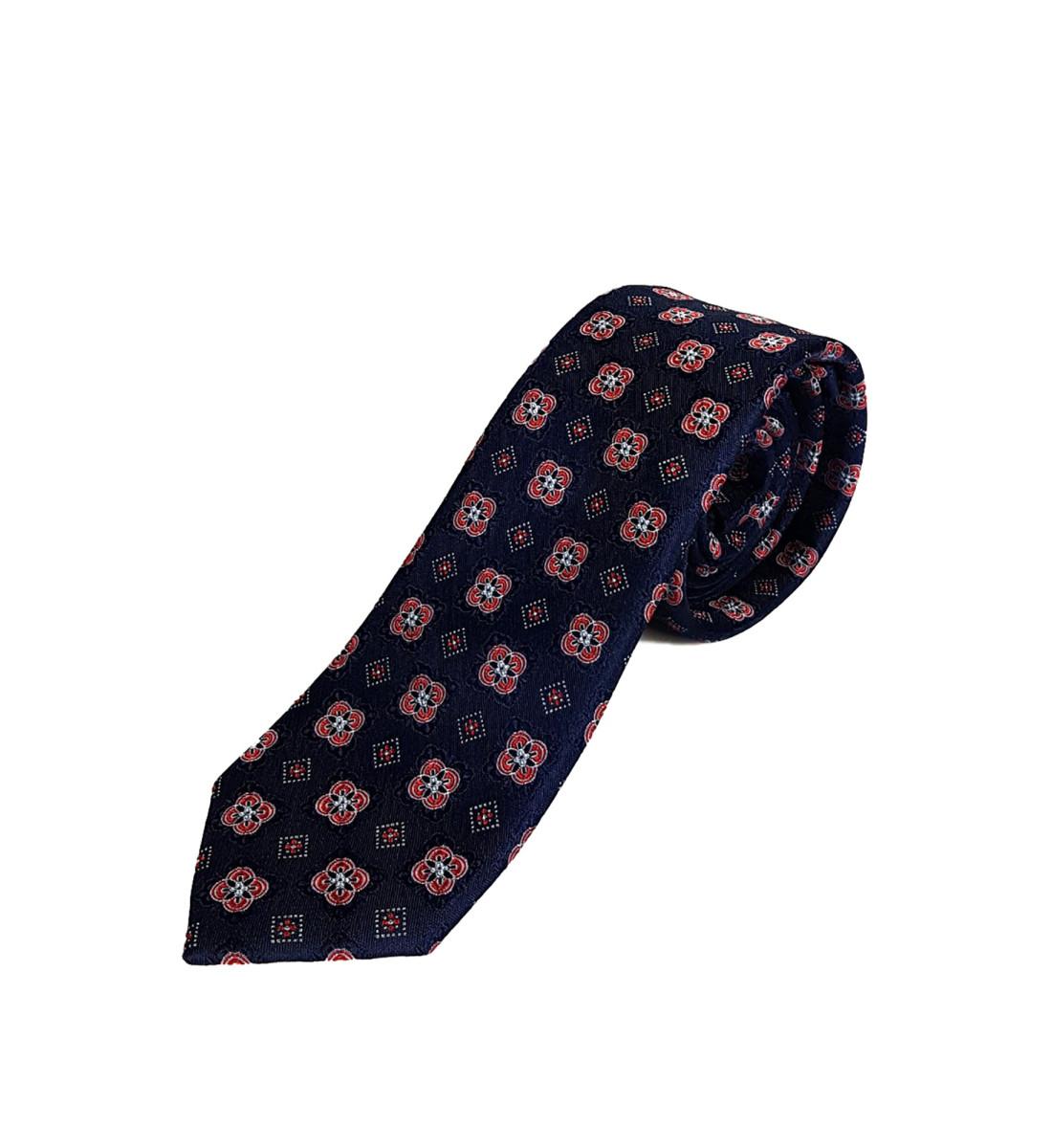 Cravate fine fantaisie 100% soie MARINE/ROUGE