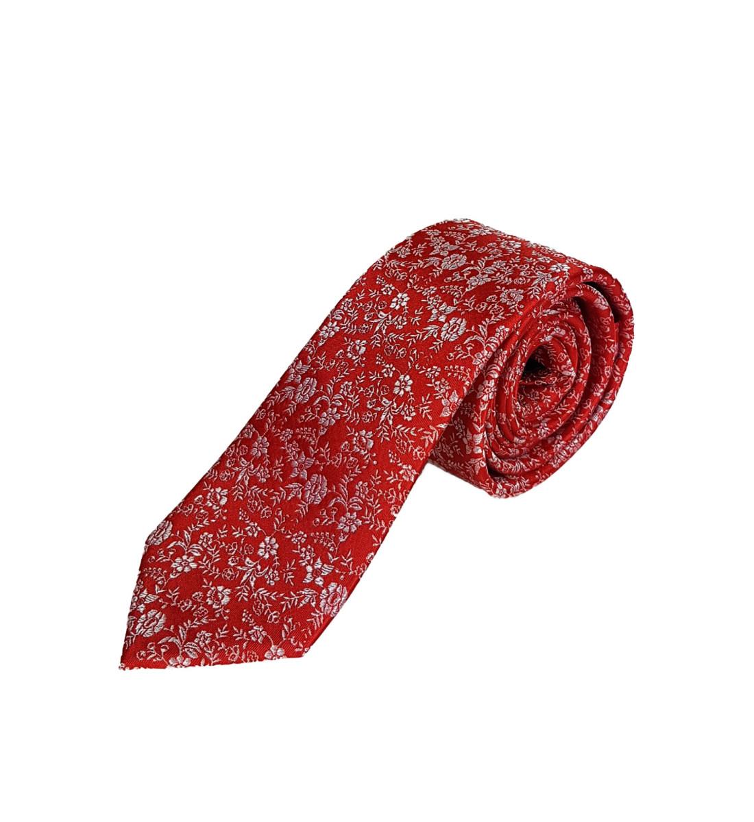 Cravate fine fantaisie 100% soie ROUGE