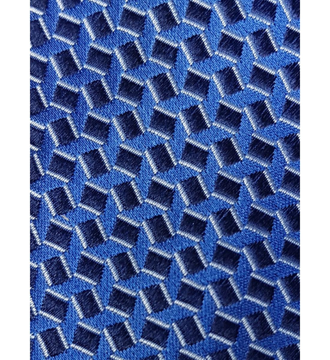 Cravate fine fantaisie 100% soie BLEU