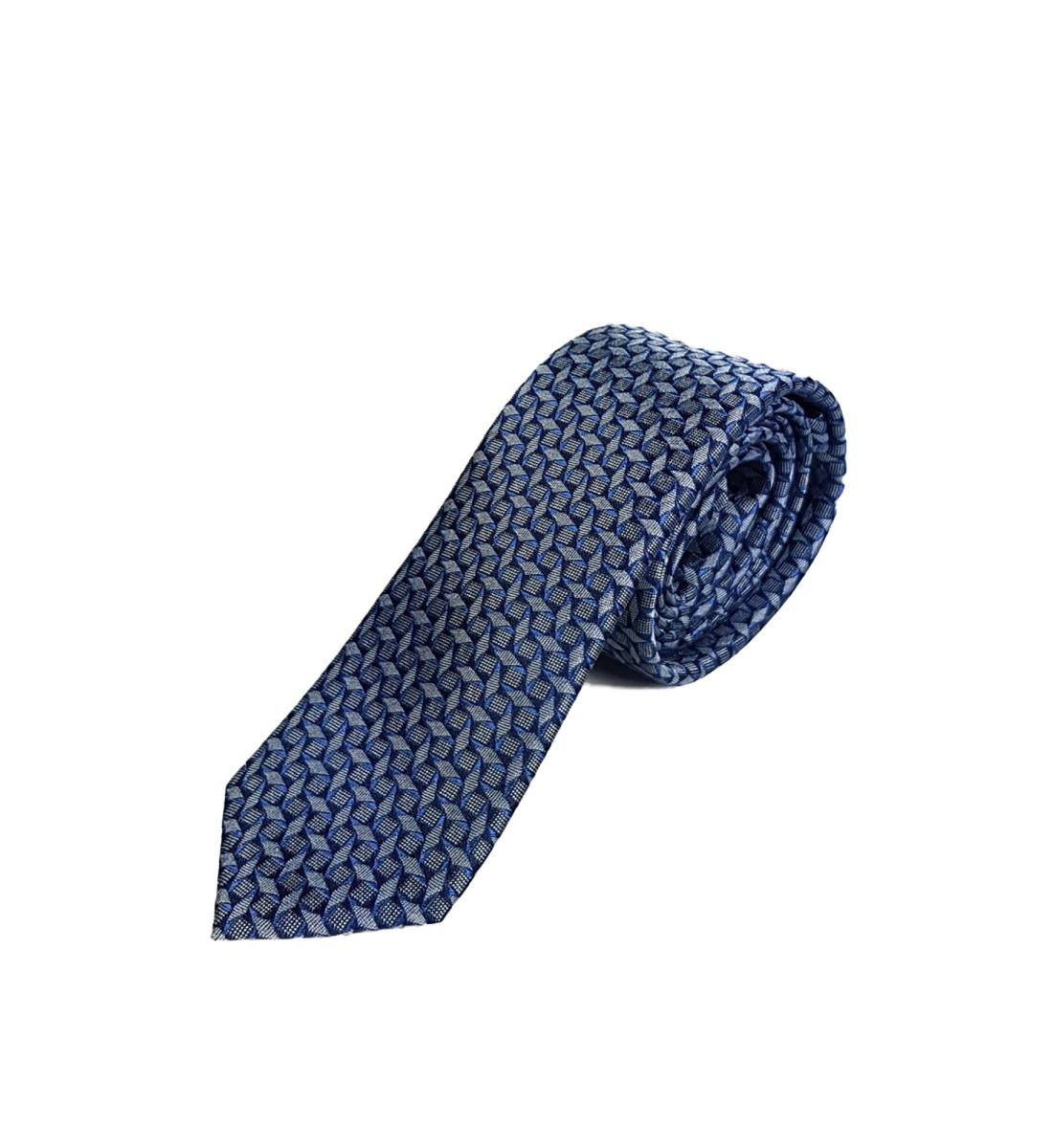 Cravate fine fantaisie 100% soie BLEU GRIS