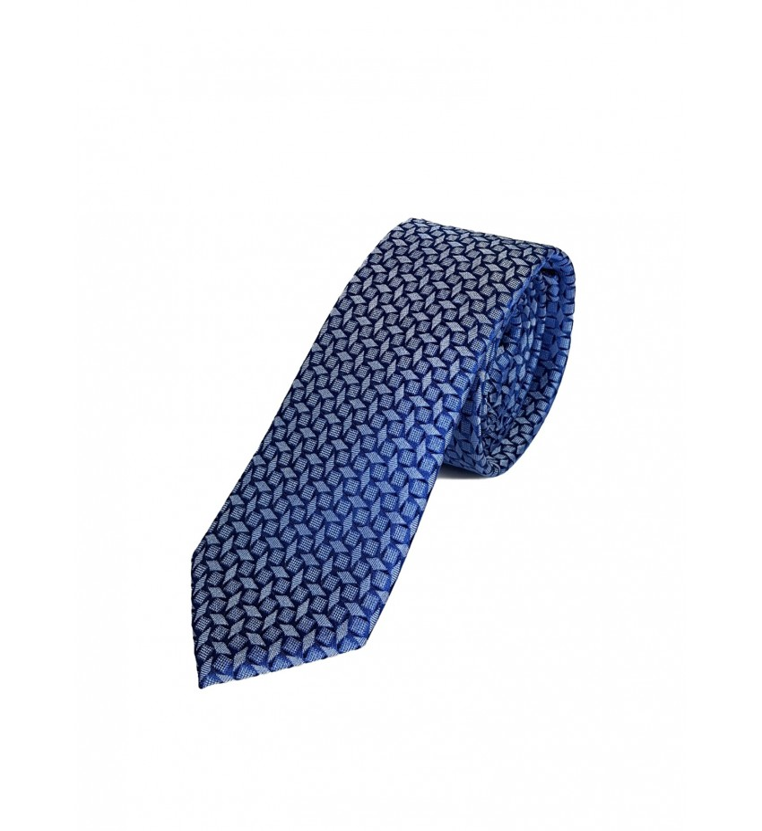 Cravate fine fantaisie 100% soie CIEL