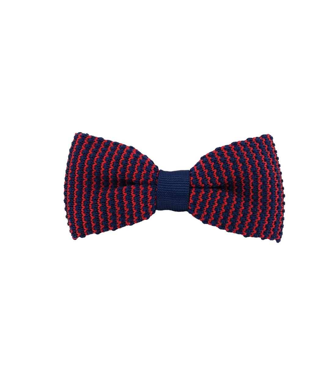 Noeud papillon en maille tricot MARINE