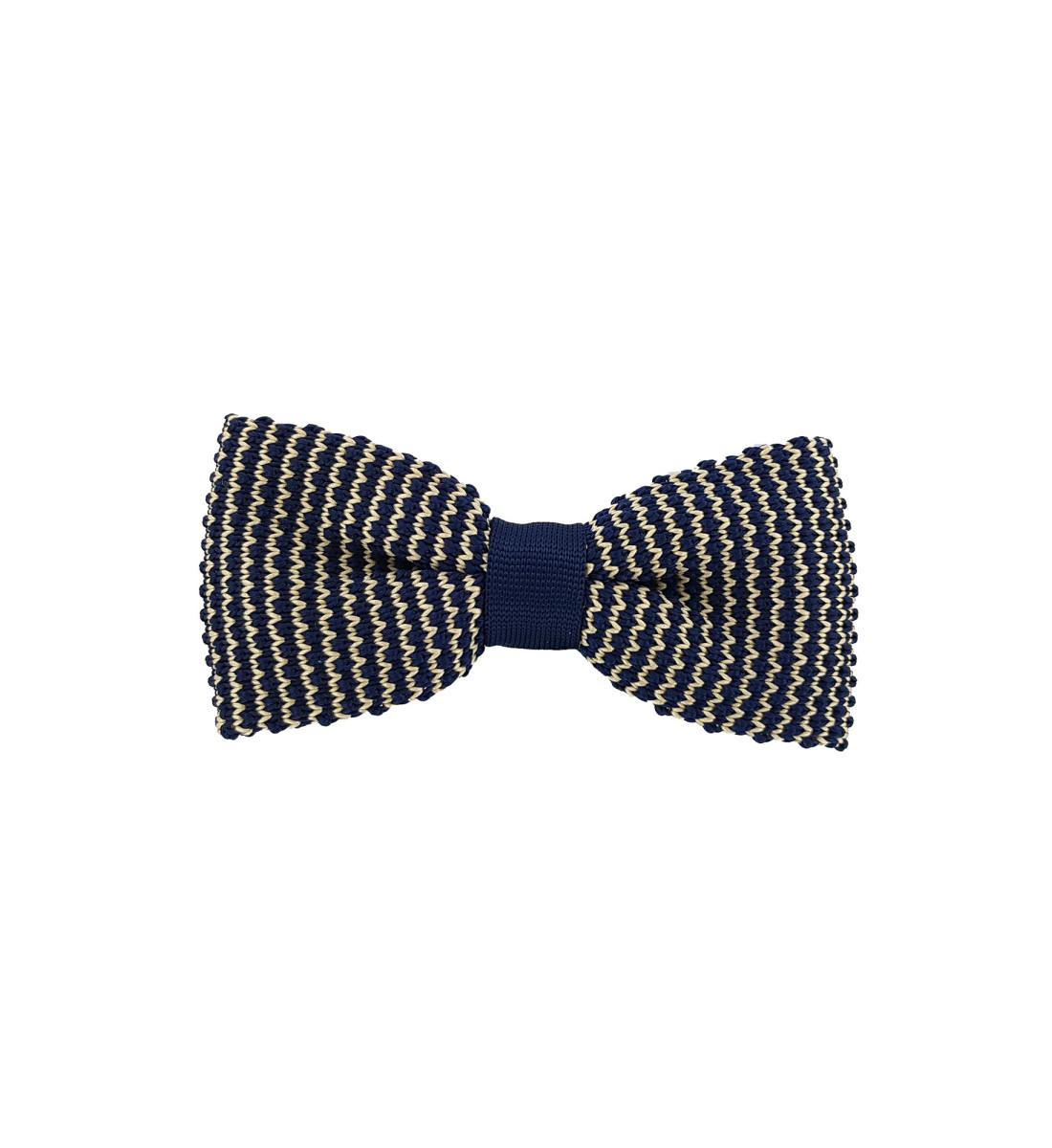 Noeud papillon en maille tricot MARINE/JAUNE