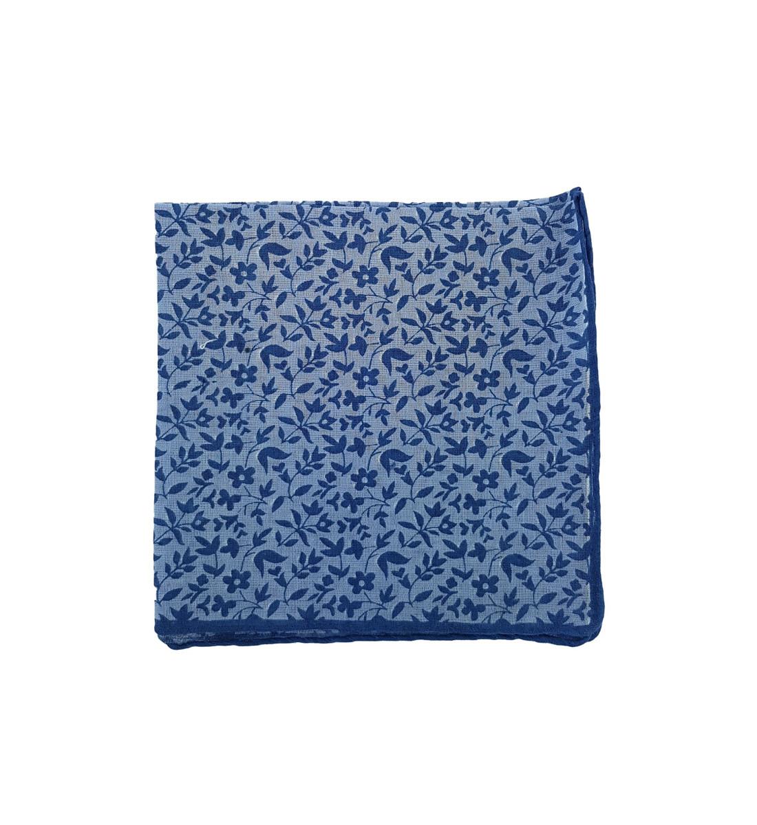 Pochette en coton motif floral BLEU