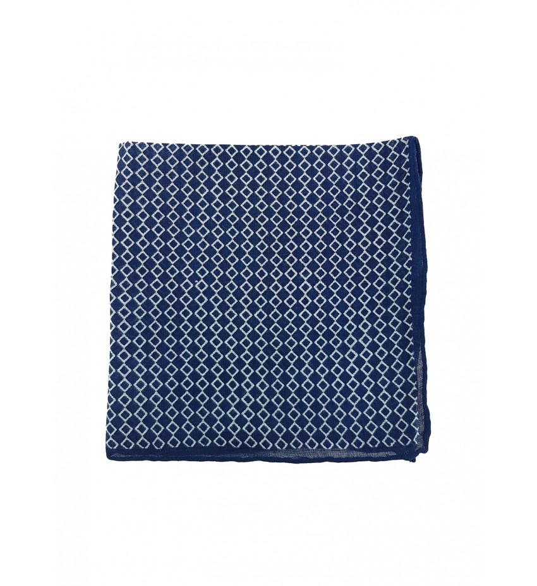 Pochette en coton motif graphique Marine/Blanc