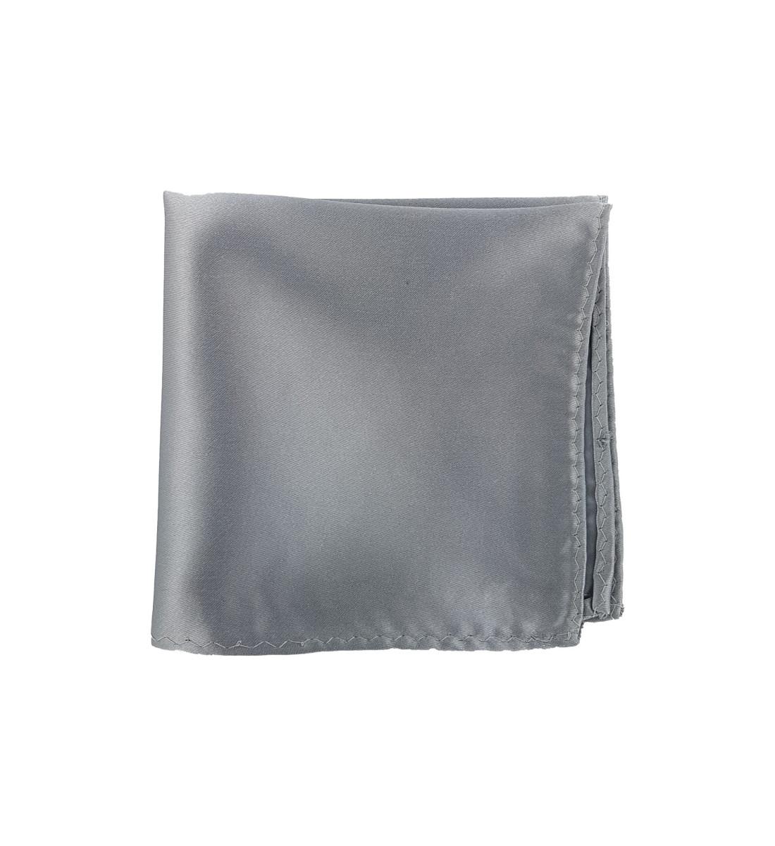 Pochette unie en soie GRIS ARGENT