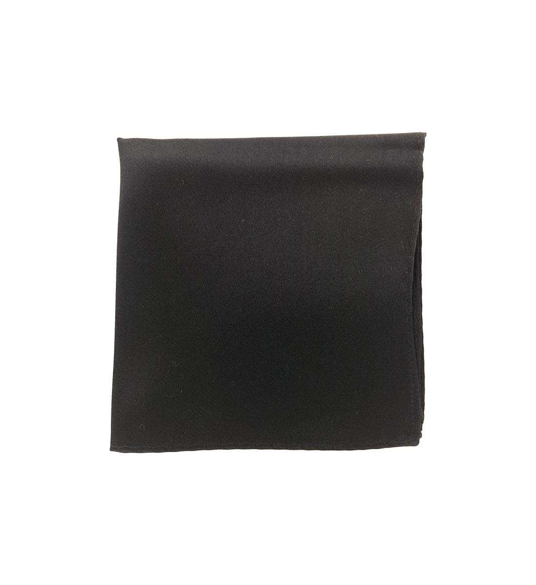 Pochette unie en soie NOIR