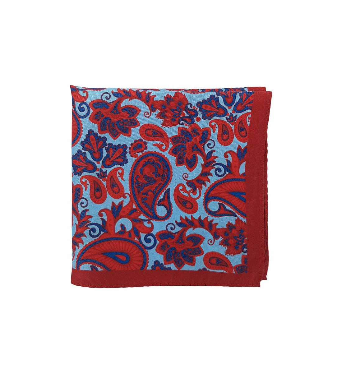 Pochette en soie motif cachemire ROUGE