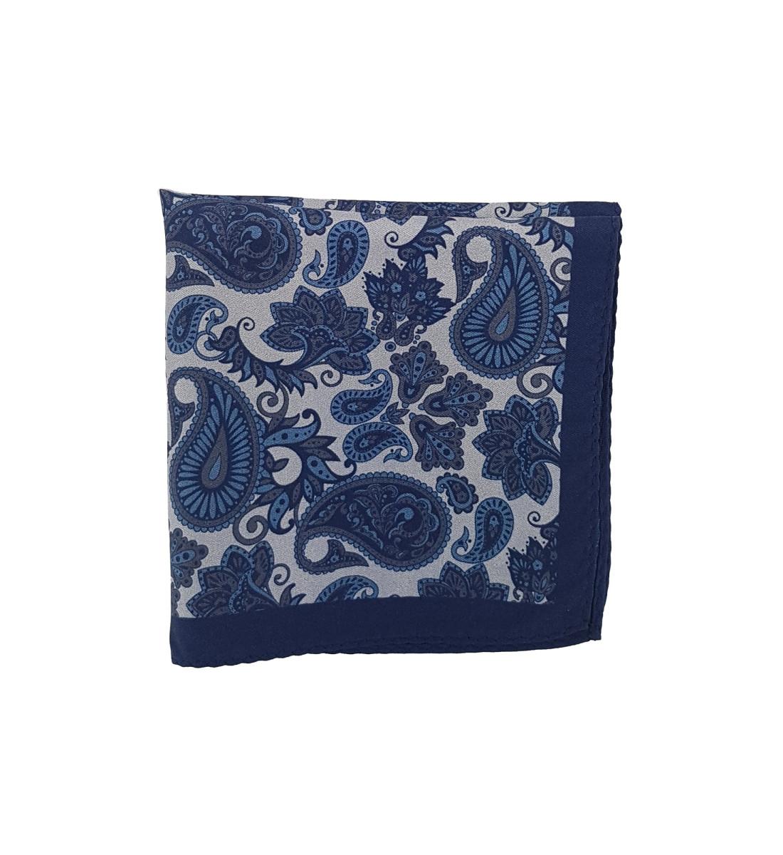 Pochette en soie motif cachemire MARINE