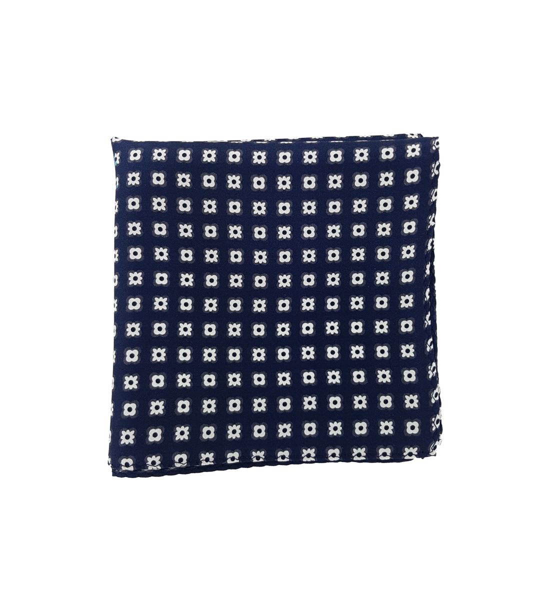 Pochette en soie motif floral graphique MARINE