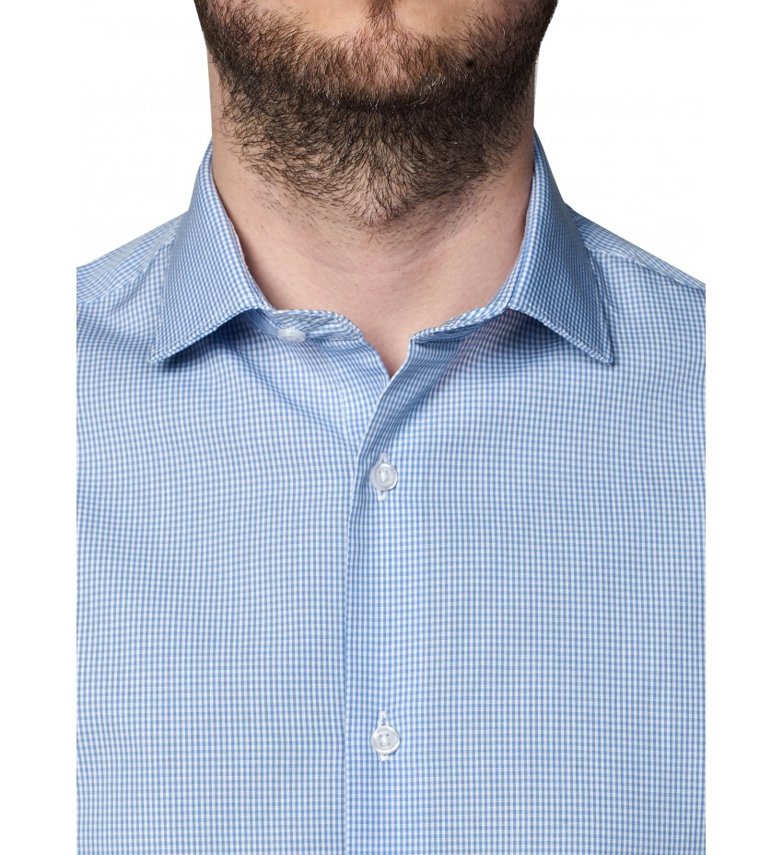 Chemise coupe droite mini vichy BLEU