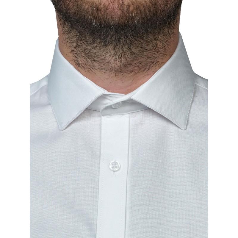 chemise manches courtes nid d 39 abeille blanc atelierpriv. Black Bedroom Furniture Sets. Home Design Ideas