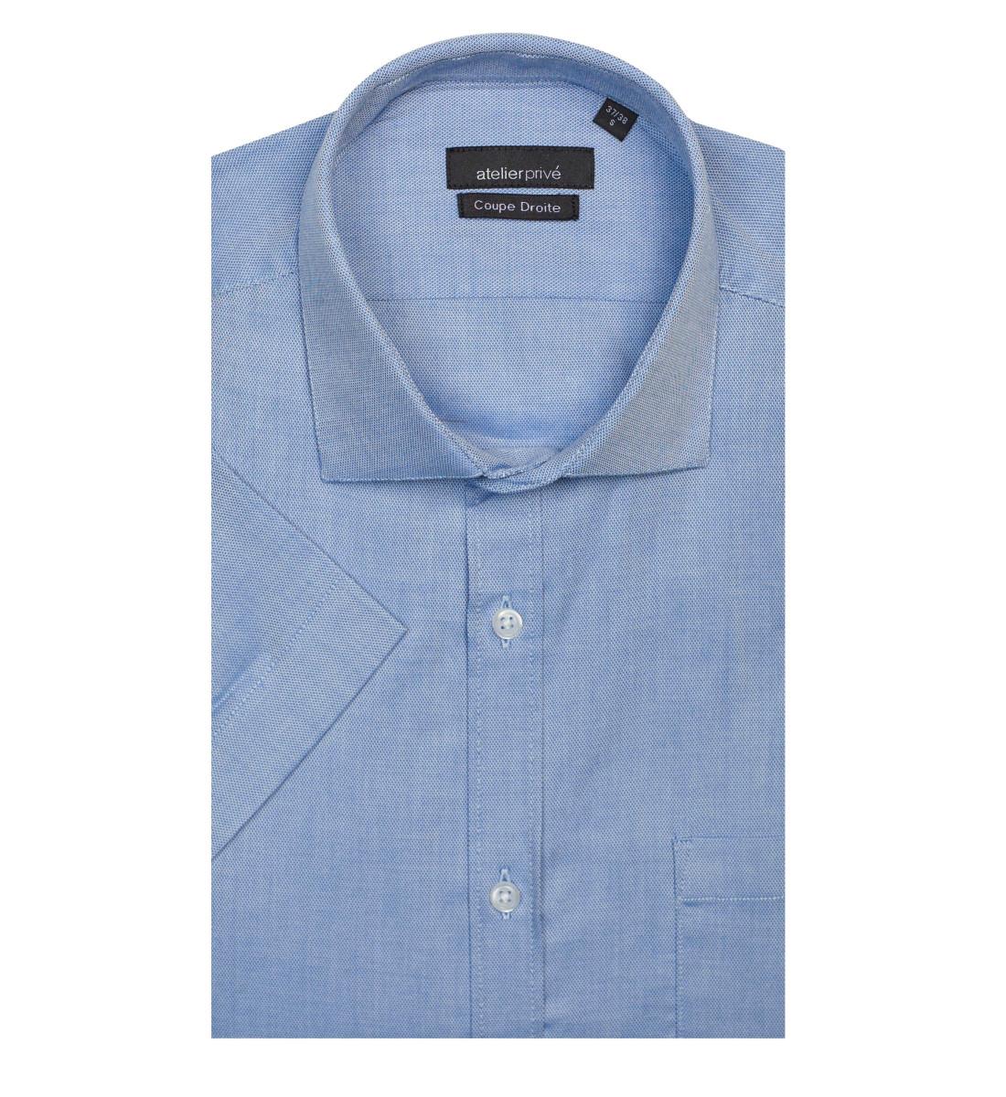 chemise manches courtes nid d 39 abeille bleu atelierpriv. Black Bedroom Furniture Sets. Home Design Ideas