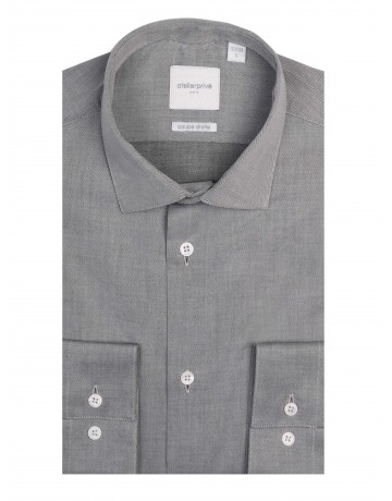 Chemise coupe droite twill GRIS