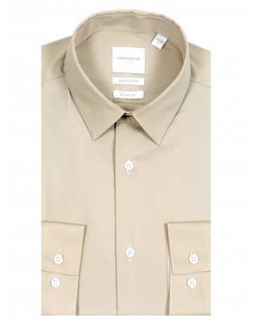 Chemise slim fit stretch beige