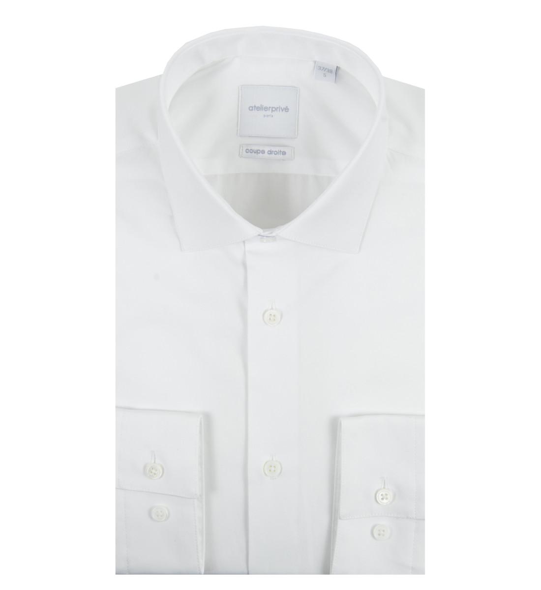 Chemise ajustée petit col italien BLANC