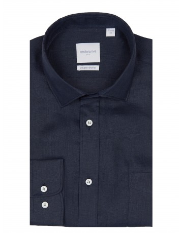 Chemise coupe droite 100% LIN marine
