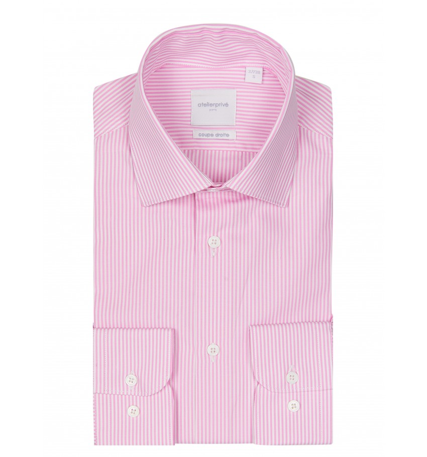 Chemise coupe droite à rayures baton ROSE