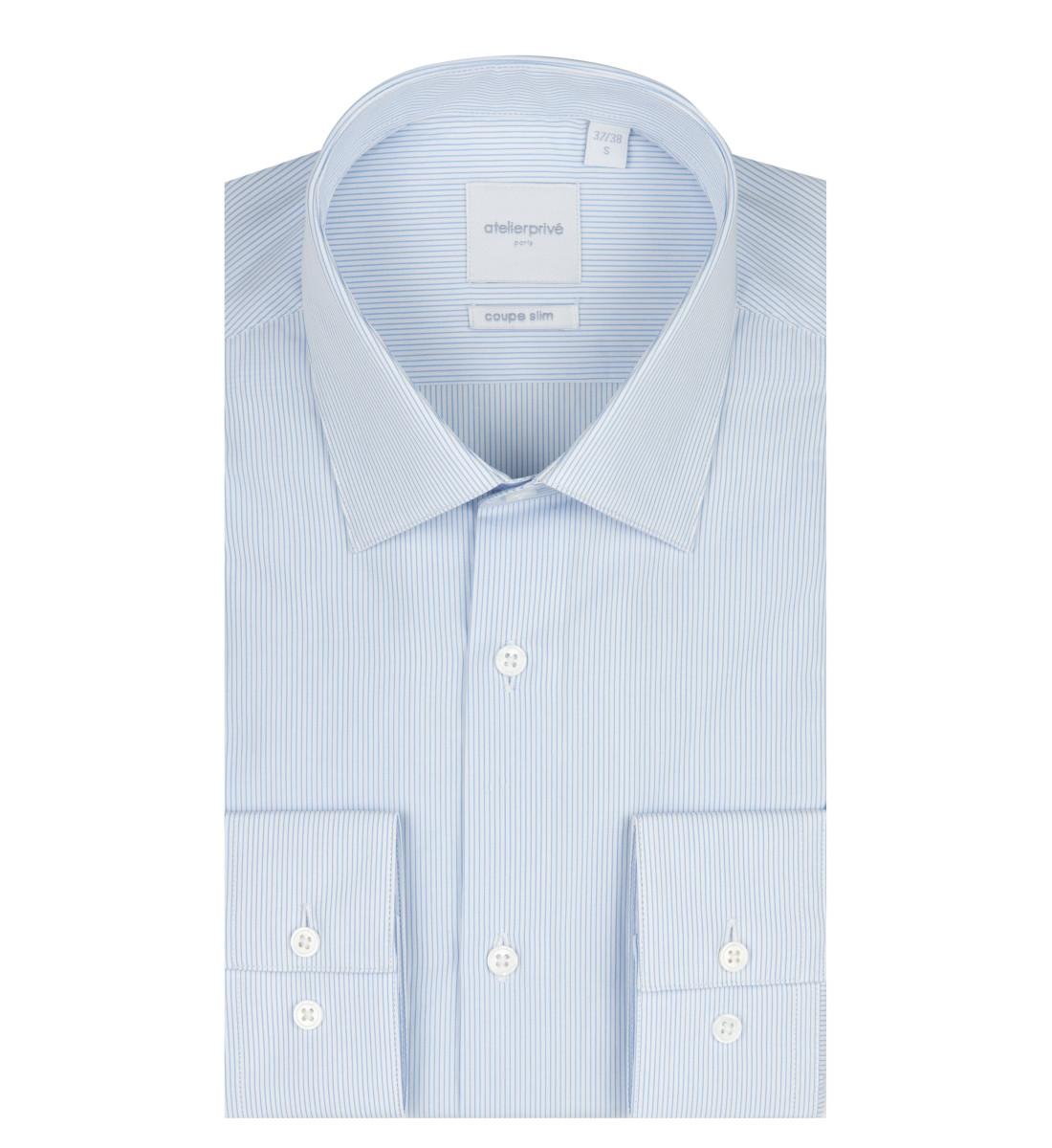 Chemise cintrée à rayures fines CIEL