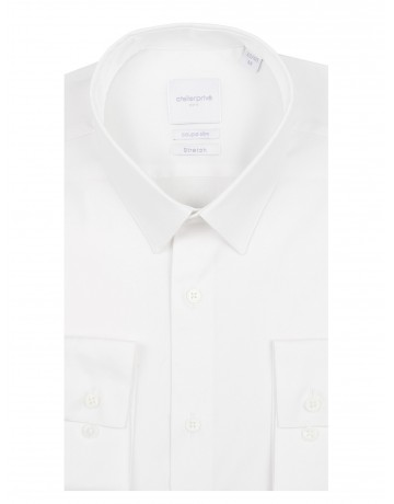 Chemise slim fit stretch BLANC