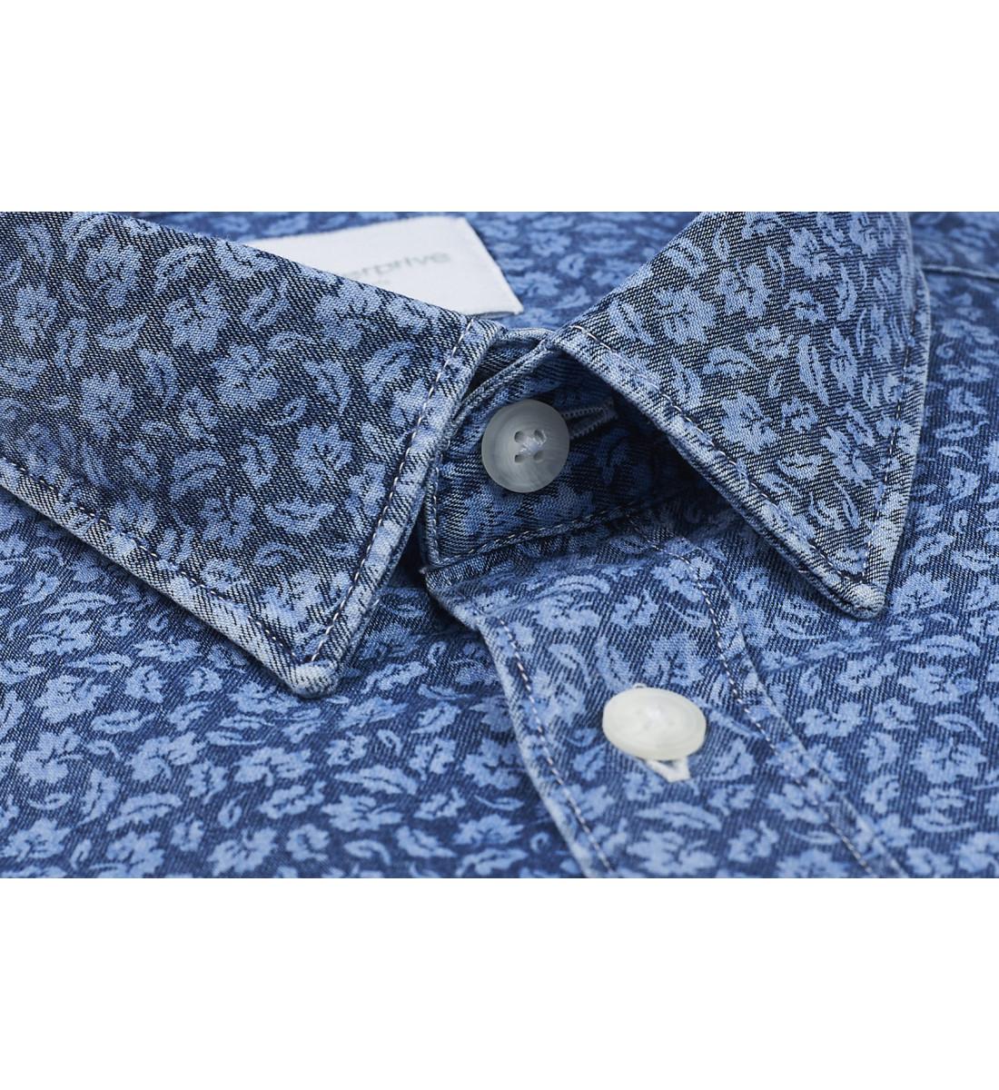Chemise coupe droite ROMUALD indigo