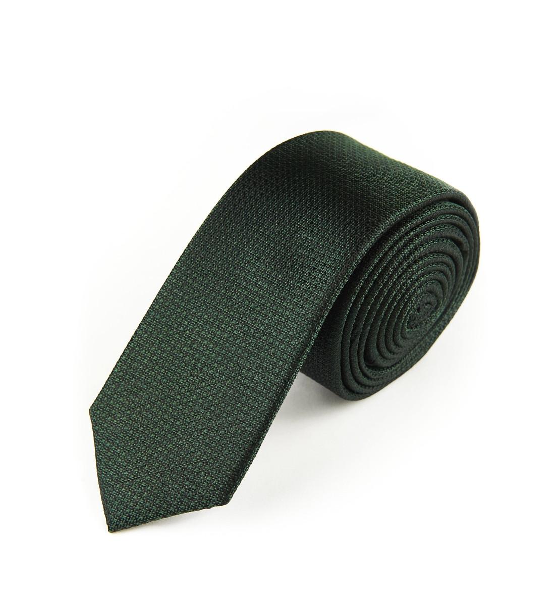 Cravate fine soie nattée VERT