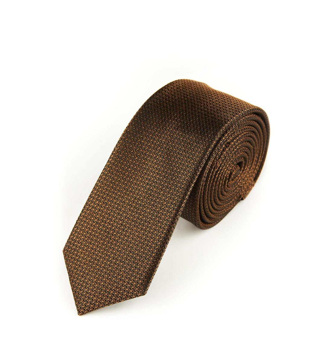 Cravate fine soie nattée MARRON