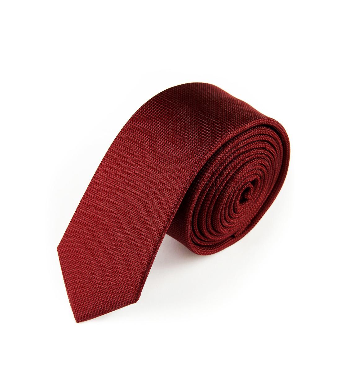 Cravate fine soie BORDEAUX