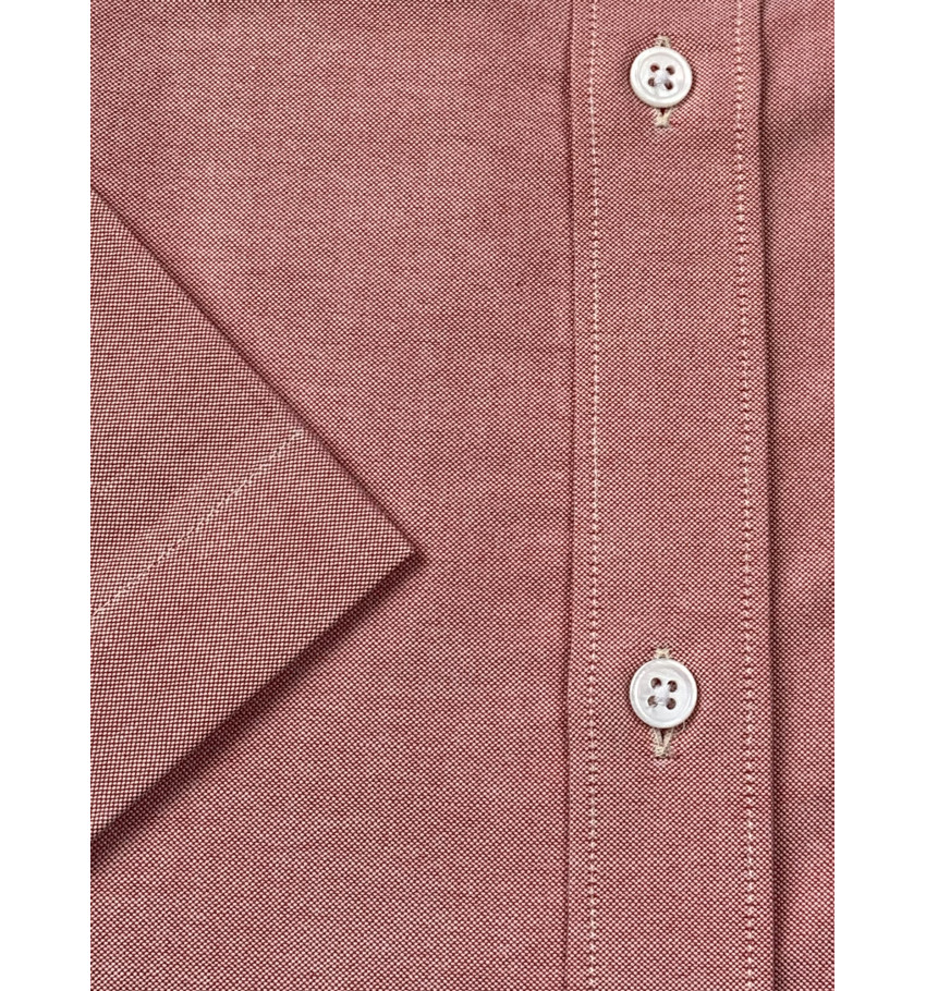 Chemise manches courtes coupe droite oxford ROUGE