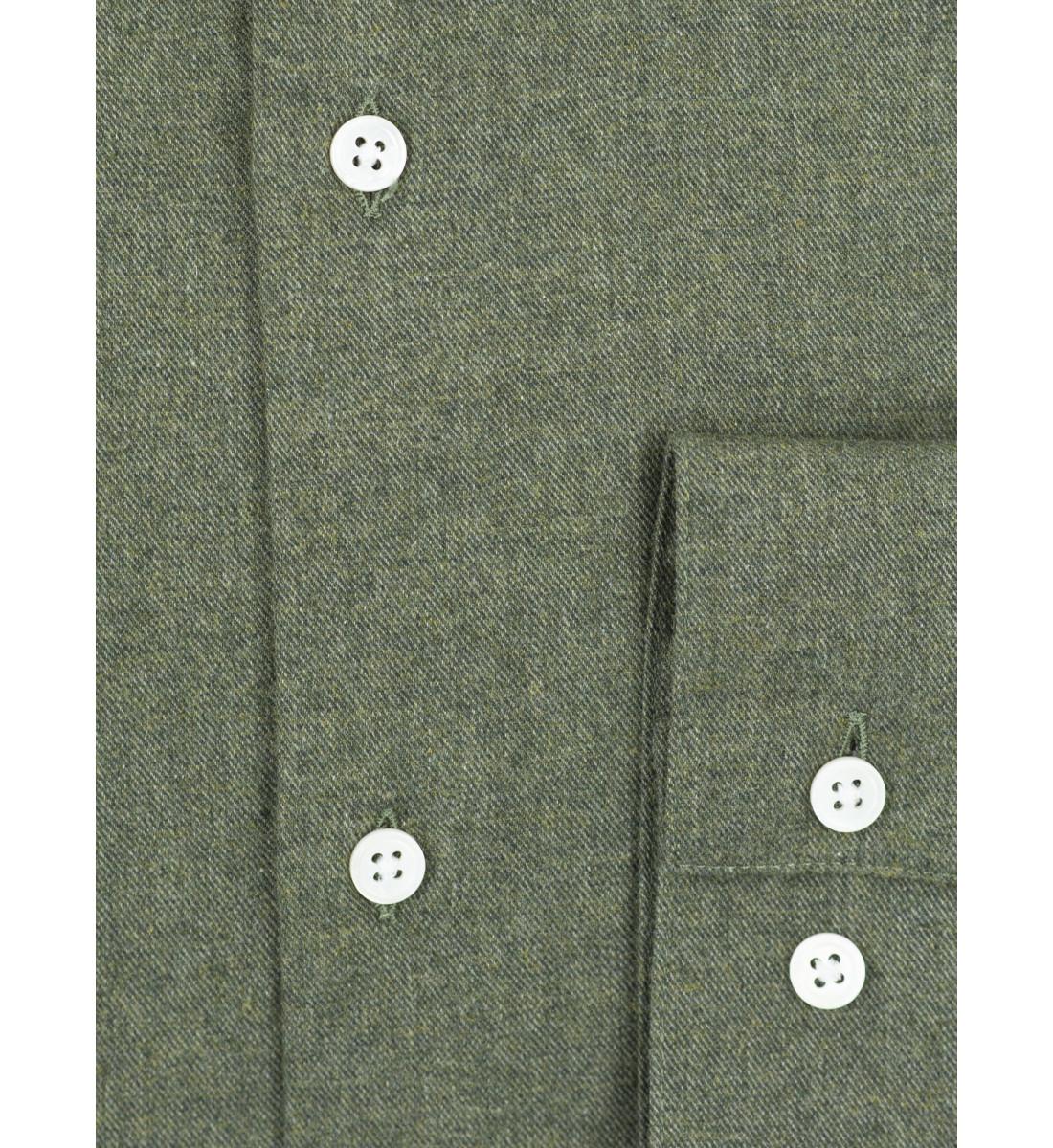 Chemise coupe cintrée flanelle uni KAKI