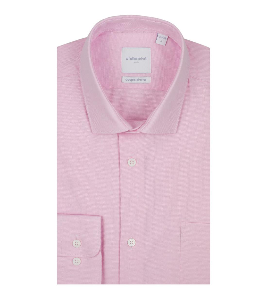 Chemise coupe droite en tissu pointe diamantée ROSE