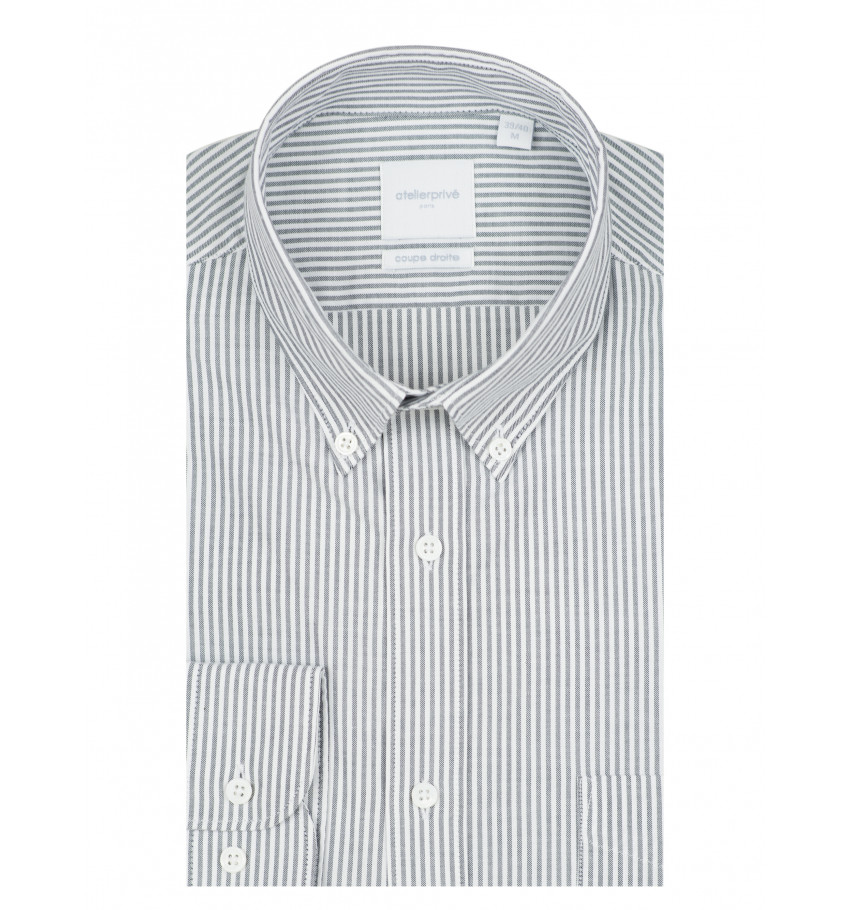Chemise coupe droite rayure oxford gris