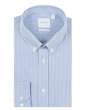 Chemise coupe droite rayure oxford ciel