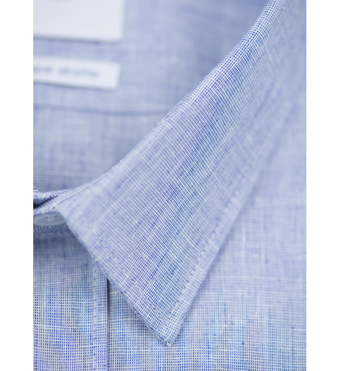 Chemise manches courtes coupe droite VACOLIN en lin bleu