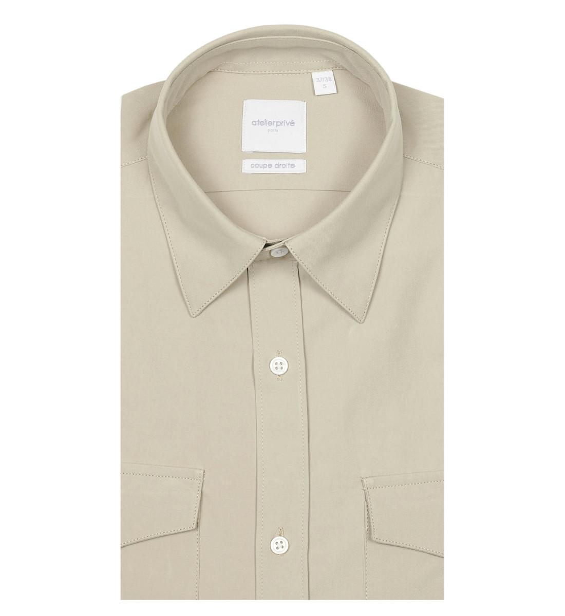 Chemise coupe droite ALDEN beige