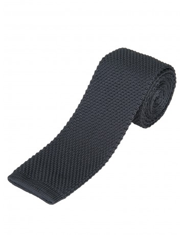 Cravate fine en maille tricot  ANTHRACITE
