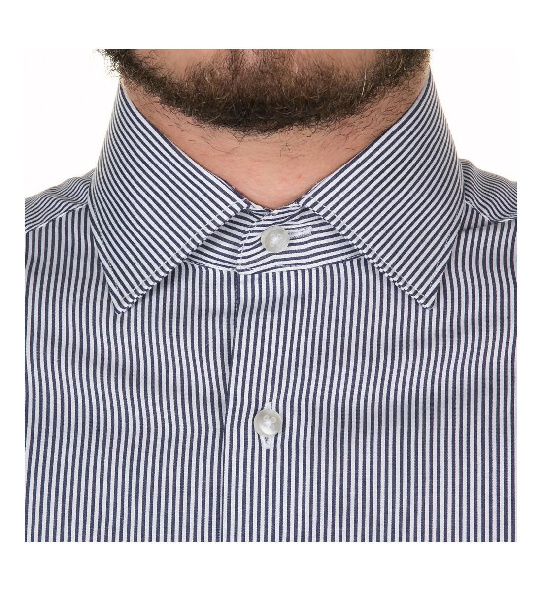 Chemise ajustée à rayures baton MARINE